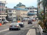 Moving west on the main street in downtown Koror